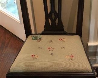 Hard to find set of 6 Chippendale dining chairs with 1940s needlepoint seats.