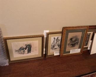 Beautifully framed etched prints suitable for lawyer or real estate or any business office.