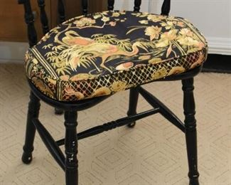 Black Spindle Vanity Chair with Cushion