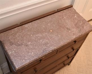 Antique Chest of Drawers with Stone Top