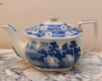 Vintage Blue & White Teapot - Swans