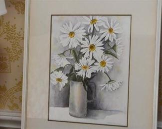 Framed Artwork / Watercolor, Floral Still Life, Signed
