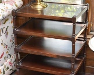 Vintage 4-Tiered Side Table on Casters