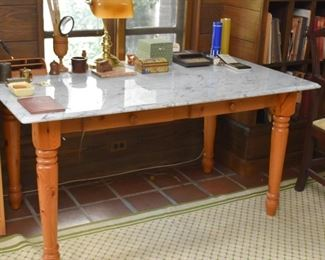 Pine Table with Marble Top