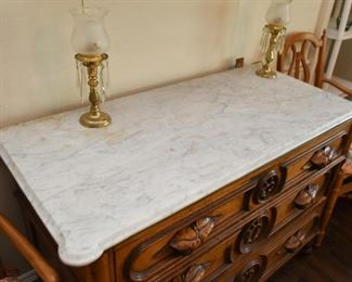 Antique Victorian Eastlake Chest of Drawers with Marble Top