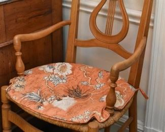 Vintage Arm Chairs with Harp Backs & Rush Seats