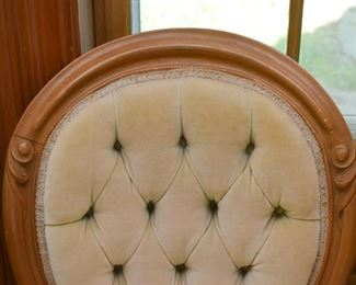 Pair of Tufted, Carved Wood Parlor Chairs