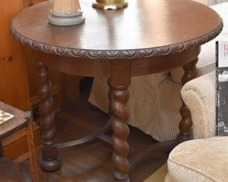 Antique Oak Occasional Table with Turned Legs