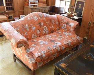 Vintage Camelback Sofa / Loveseat with Asian Inspired Upholstery
