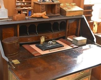 Antique / Vintage 4-Drawer Secretary with Inlaid Wood Accents