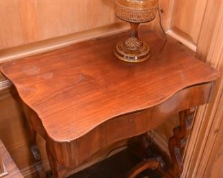Antique Serpentine Writing Table with Drawer