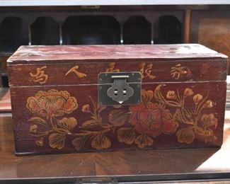 Asian Painted Wood Box