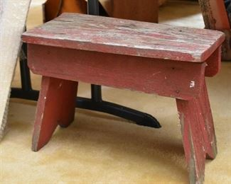 Primitive Painted Wood Stool