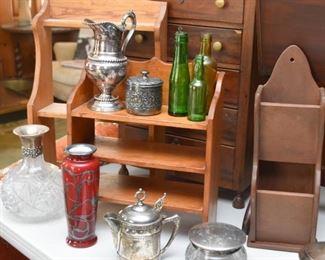 Silver Plate, Wooden Display Shelves & Racks, Glass Bottles, Etc.
