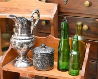 Silver Plate Pitcher & Canister,  Glass Bottles