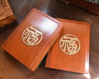 Bookends - Asian Calligraphy, Wood & Brass