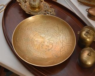 Etched Brass Bowl - Asian Calligraphy