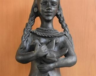 Black Clay Pottery Folk Art Statue