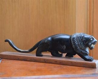 Carved Stone Lion Figurine