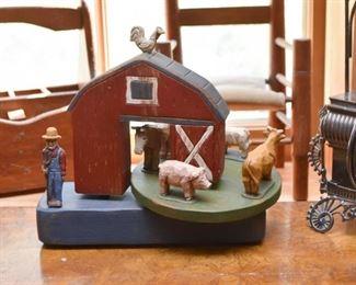 Wooden Folk Art Farm Carving / Toy