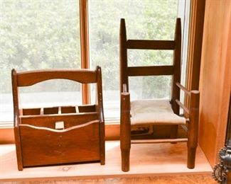 Wooden Tote, Doll Chair