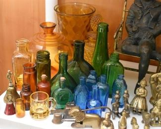 Colored Glass Bottles Collection, Brass Collection
