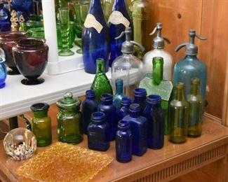 Vintage Colored Glass Bottles