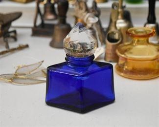 Vintage Cobalt Blue Glass Perfume Bottle