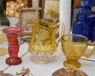 Various Vintage Colored Glass / Glassware