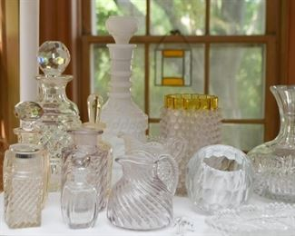 Various Cut Glass / Crystal / Glassware Pieces (Decanters, Pitchers, Vases, Bottles, Etc.)