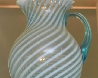 Teal & White Art Glass Pitcher