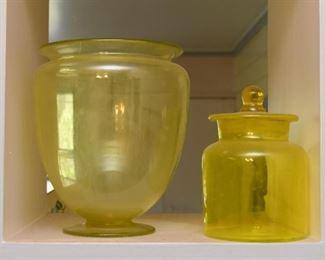Vintage Yellow Glass Vase & Jar