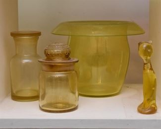 Vintage Yellow Glass Vase & Jars, Cat Figurine