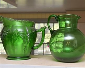 Vintage Green Glass Pitchers