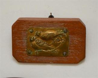Wood & Brass Wall Hanging / Plaque - Birds