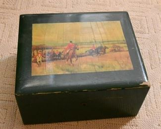 Vintage Poker Chips with Decorative Box