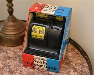Vintage Toy Cash Register Bank with Original Box