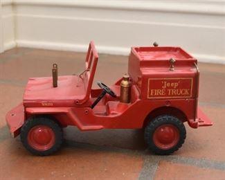 Vintage Jeep Fire Truck Toy
