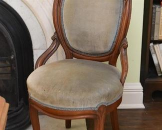 Antique Carved Wood Side Chair with Upholstered Back & Seat