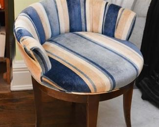 Low Back Vanity Chair with Blue Striped Upholstery