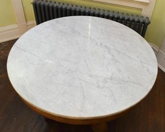 Antique Round Table with Marble Top