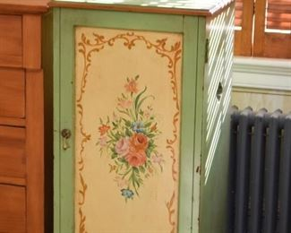 Hand Painted Storage Cabinet - Roses Motif