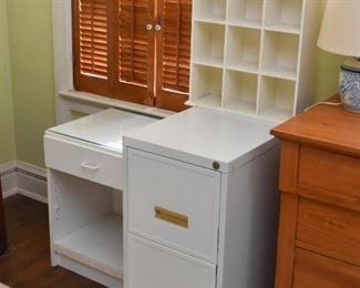 White Laminate Nightstand, White Metal File Cabinet, White Curio Display Shelf