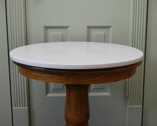 Oak Pedestal Table with Marble Top