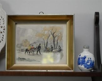 Miniature Framed Artwork, Snuff Bottle