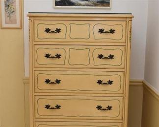 French Provincial Highboy Dresser / Chest of Drawers, Framed Artwork - Seascape