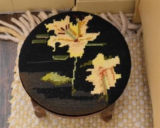 Foot Stool with Needlepoint Top - Lilies
