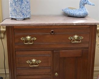 Antique Washstand / Commode with Stone Top