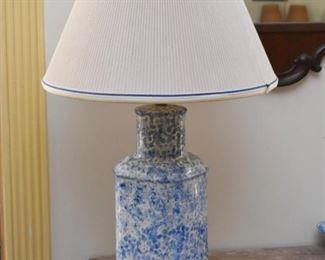Blue & White Spongeware Table Lamp