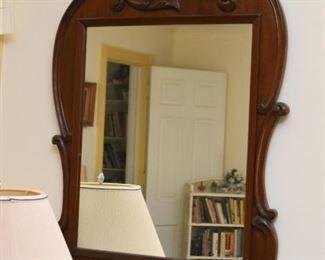 Antique Wood Framed Wall Mirror